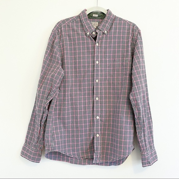 J Crew 100% Cotton Checked Shirt Size Large